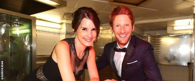 Romain Grosjean and his wife