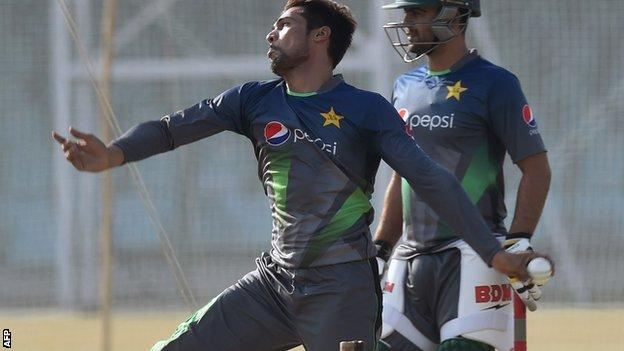 Pakistan fast bowler Mohammad Amir at last month's training camp in Lahore