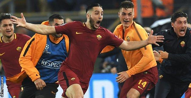 Kostas Manolas scoring for Roma against Barcelona