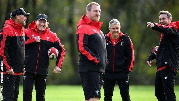 Gethin Jenkins in Wales training with coaches Wayne Pivac, Neil Jenkins, Byron Hayward and Stephen Jones