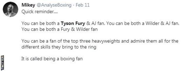 A screengrab of a tweet saying that you can be a fan of all three top heavyweights - Anthony Joshua, Tyson Fury and Deontay Wilder