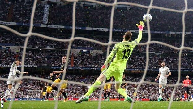 Cristiano Ronaldo scores his second goal of the evening