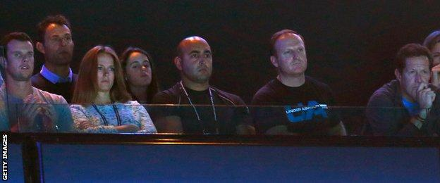 Andy Murray's entourage watch his match against Stan Wawrinka