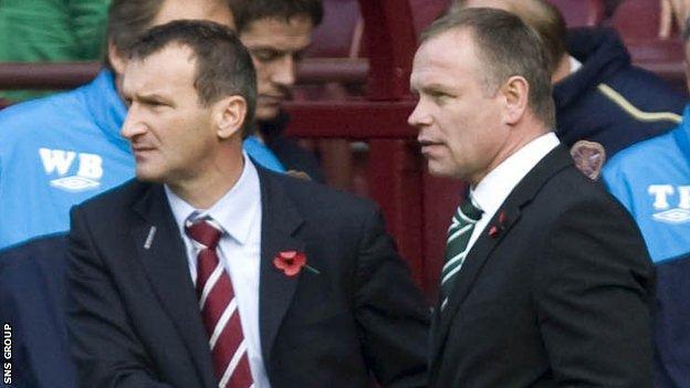 Csaba Laszlo and John Hughes were Edinburgh derby rivals in 2009