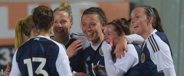 Scotland celebrate Emma Mitchell's goal