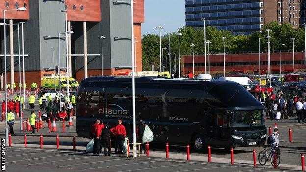 Bournemouth coach leaving Old Trafford