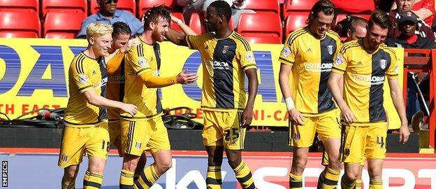 Fulham celebrate Ryan Tunnicliffe's opener