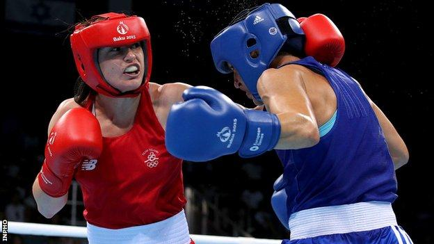 Katie Taylor aims a left at Denitsa Eliseeva in Sunday's bout in Baku