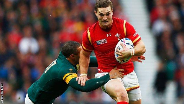 George North in action for Wales against South Africa in the 2015 Rugby World Cup