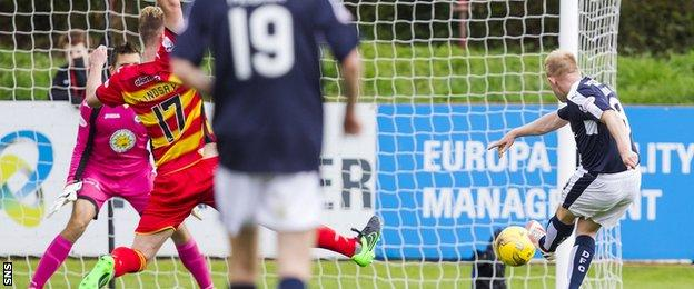 Nicky Low misses a chance for Dundee against Partick Thistle