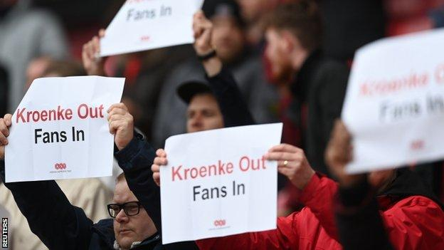 Arsenal fans hold banners that read 'Kroenke Out, Fans In' at their match with Brighton