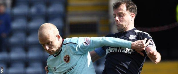 Hearts' Steven Naismith is challenged by Dundee's Paul McGowan