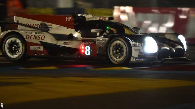 Fernando Alonso driving his Toyota during the Le Mans 24 Hours