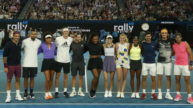 Rally for Relief: Roger Federer, Serena Williams and Novak Djokovic play in charity match thumbnail