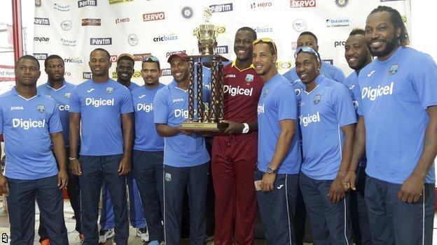 West Indies with the Twenty20 series trophy