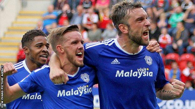 Ricky Lambert celebrates his first goal for Cardiff City