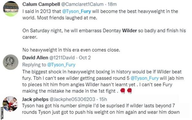 Fans on Twitter discussing Fury-Wilder III. One fan says