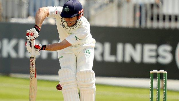 Ireland opener Ed Joyce is trapped lbw as the hosts struggled in the first innings