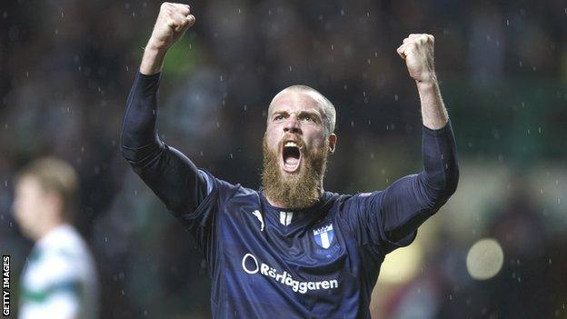Jo Inge Berget celebrates at the end of the match