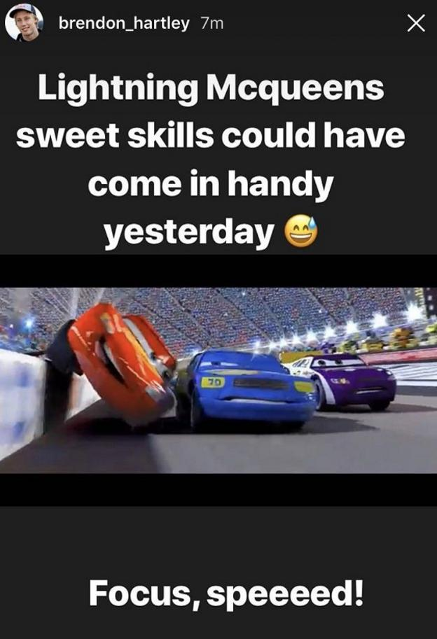 Brendon Hartley posts 'Lightning Mcqueen;s sweet skills could have come in handy yesterday' on Instagram