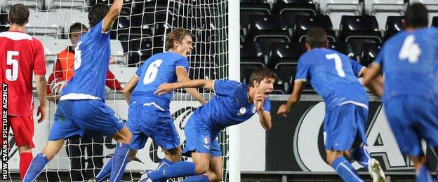 Alberto Paloschi (third right) celebrates his goal for Italy Under-21s against Wales in 2009