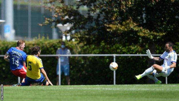 Blues striker Shayne Lavery sees his shot saved during Saturday's game in Nyon