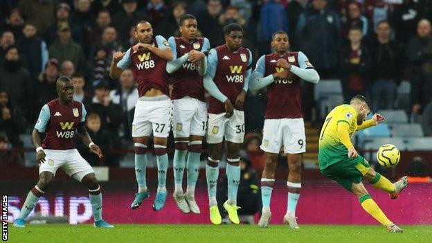 Emiliano Buendia takes a free-kick against Aston Villa