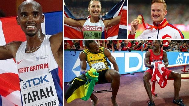 Mo Farah, Jessica Ennis, Greg Rutherford, Usain Bolt and Justin Gatlin