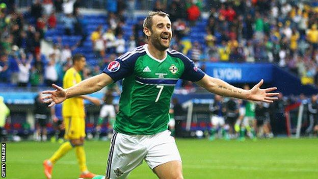 McGinn celebrates after scoring in Northern Ireland's historic 2-0 win over Ukraine at Euro 2016