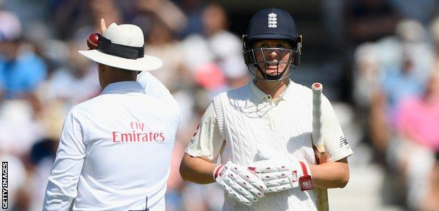 Gary Ballance walks off after being given out