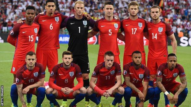 England team who played Slovakia in their group game at Euro 2016