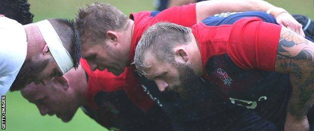 England's front row (from right) of Joe Marler, Tom Youngs and Dan Cole practise their scrummaging