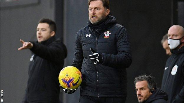 Southampton boss Hasenhuttl during his side's goalless draw at Fulham on 26 December