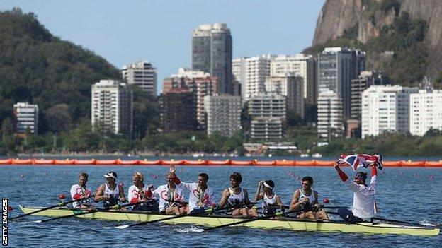 Team GB's men's eight celebrate after winning gold at Rio 2016