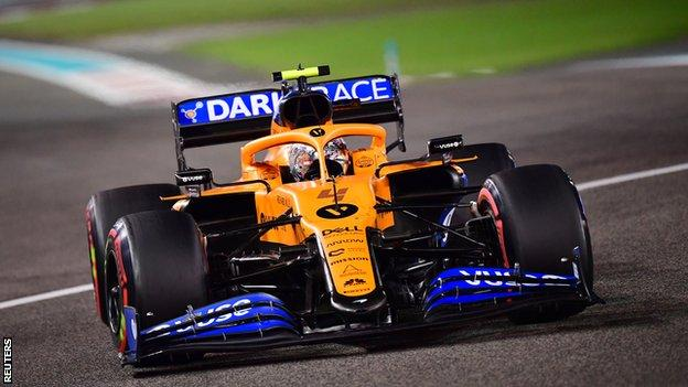 Briton Lando Norris in action for McLaren in Abu Dhabi