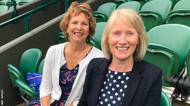 Barbara Whittaker and Rosemary Day sitting on Court One