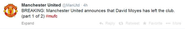 The first part of United's tweet confirming the sacking of David Moyes