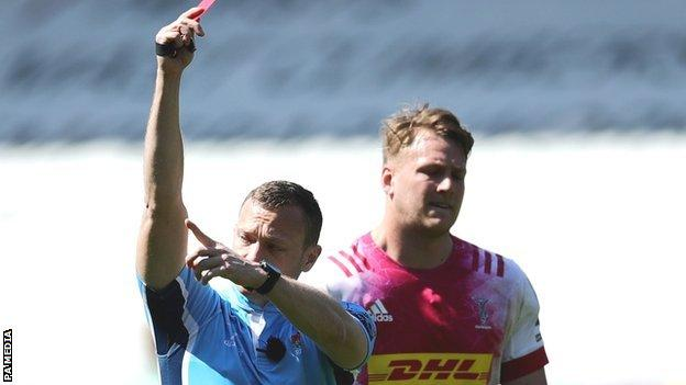 Andre Esterhuizen was shown the red card by referee Matthew Carley in the win over London Irish