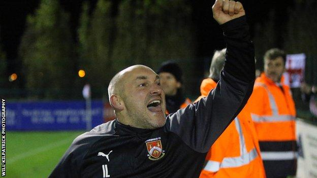 Stourbridge manager Ian Long celebrates the comeback from 2-0 down to win the FA Cup fourth qualifying round replay 3-2 against Whitby and book the Glassboys' latest first round adventure