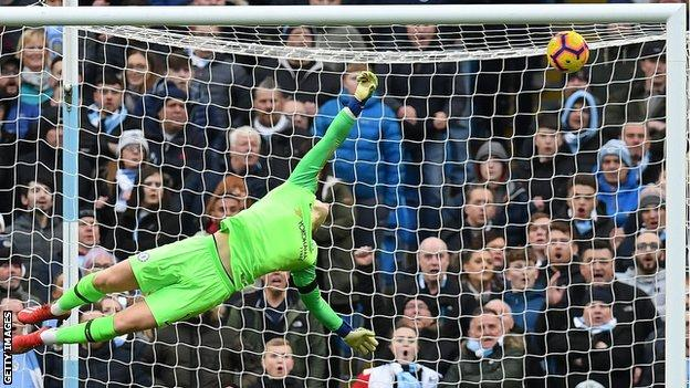 Chelsea goalkeeper Kepa Arrizabalaga could not keep out Aguero's pin-point strike from distance to make it 2-0