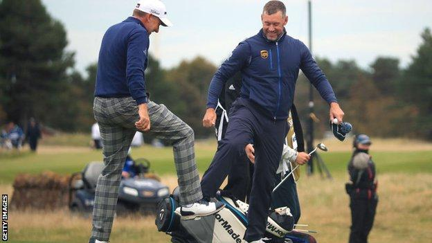 Ryder Cup team-mates Ian Poulter and Lee Westwood were reunited in East Lothian