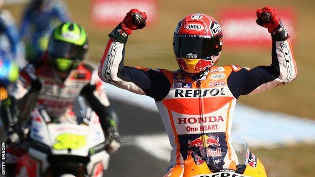 Marc Marquez celebrates victory