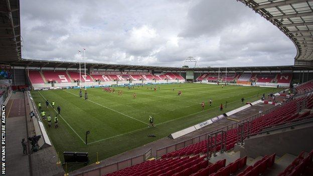 Cardiff Blues and Scarlets play in front of an empty stadium
