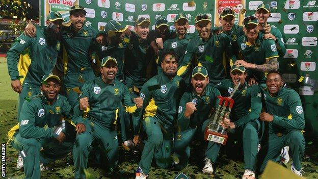 South Africa with the one-day series trophy