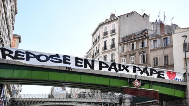 Bridge in Marseille with banner