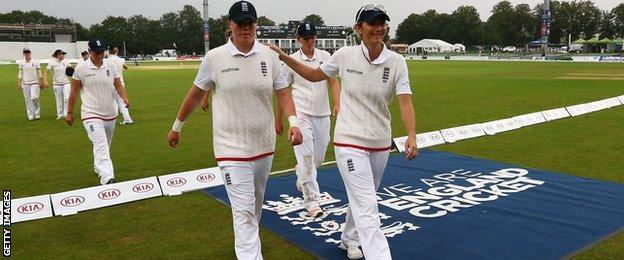 Charlotte Edwards and England walk off at Canterbury