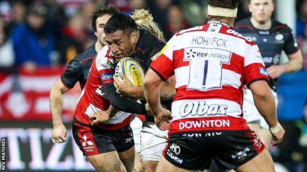 Mako Vunipola in action against Gloucester