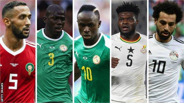 Medhi Benatia (Morocco), Kalidou Koulibaly (Senegal), Sadio Mane (Senegal), Thomas Partey (Ghana) and Mohamed Salah (Egypt)