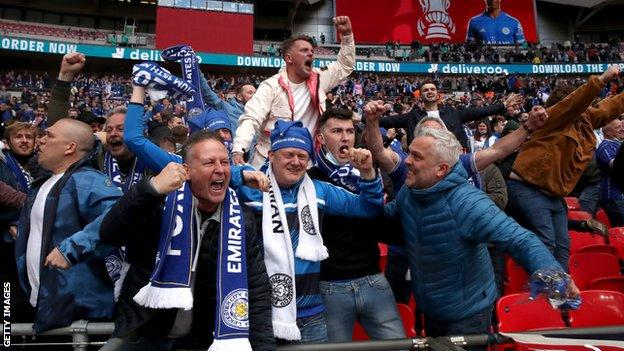 Leicester City fans celebrate