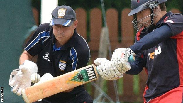 Waringtown batsman Alan Dennison attempts a cut in Saturday's Ulster Cup win over Coleraine